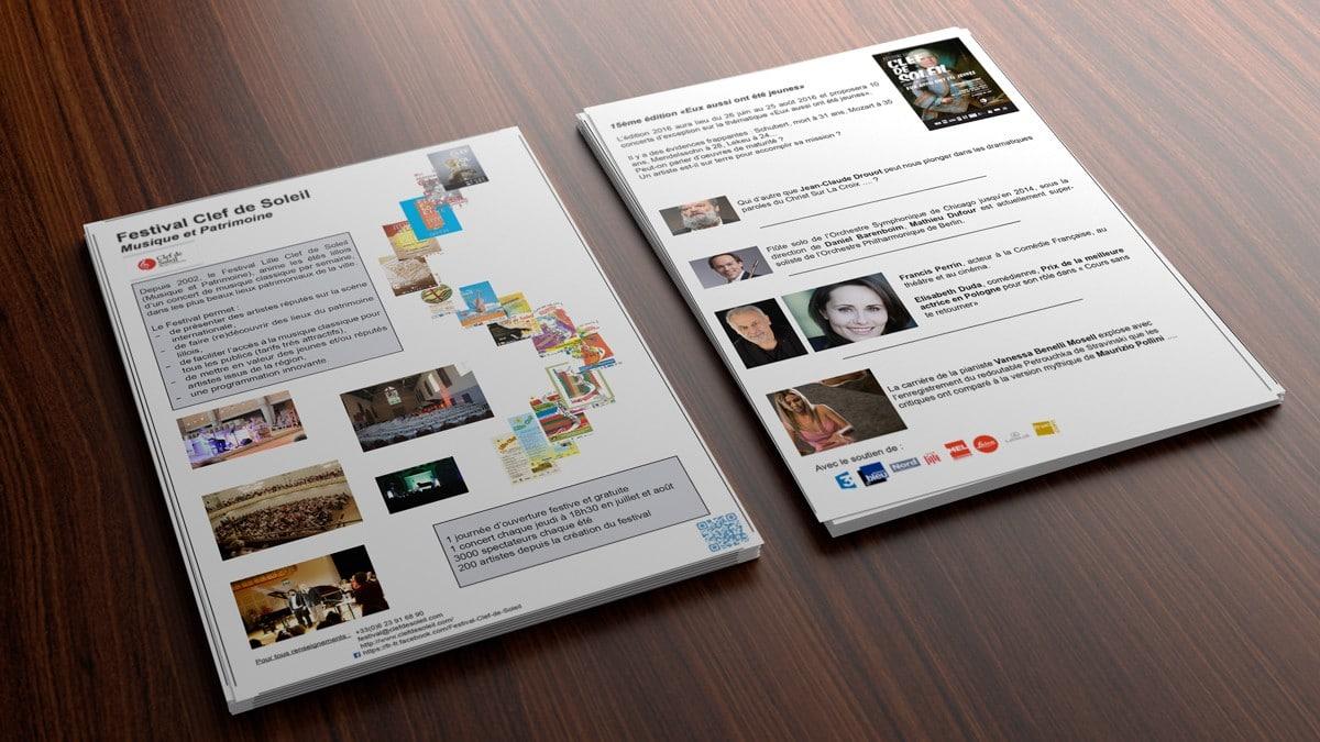 Création d'un flyer destiné aux sponsors pour le Festival Lille Clef de Soleil