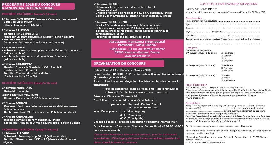 Plaquette concours Pianissima International 2018