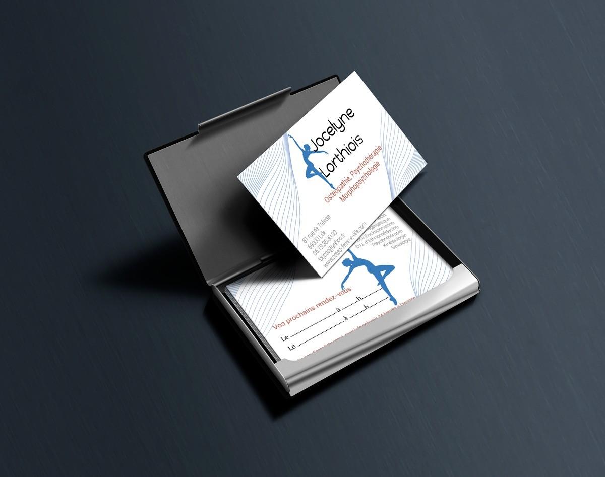Carte de visite de Jocelyne Lorthiois, Ostéopathie, psychothérapie, morphopsychologie.