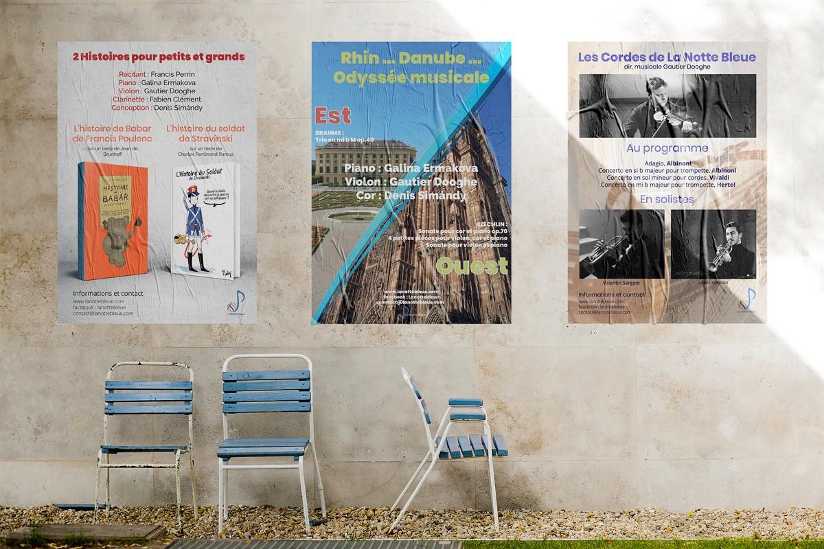 3 affiches de spectacles à thème pour La Notte Bleue
