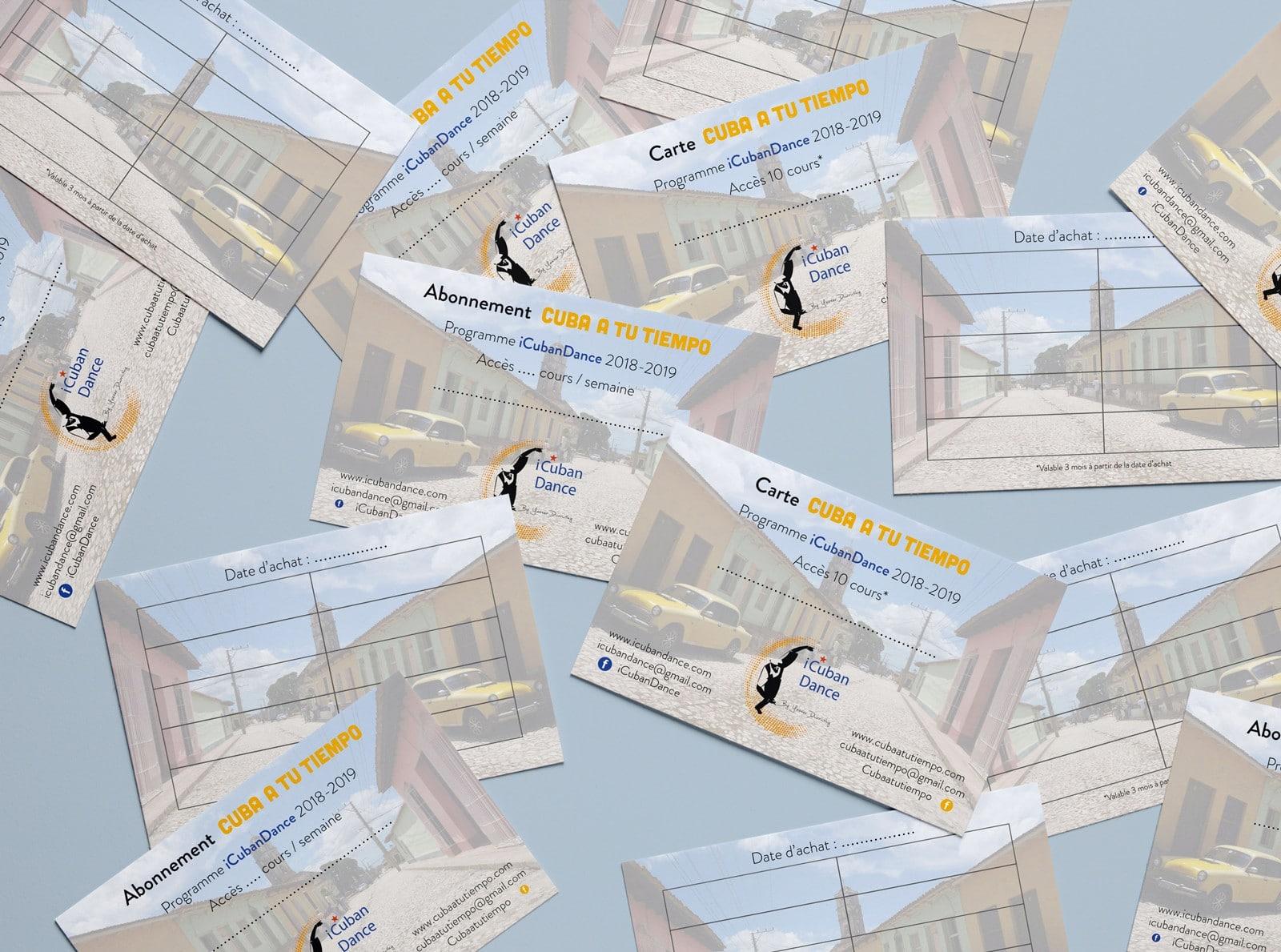 Cartes d'abonnements aux cours d'iCubanDance