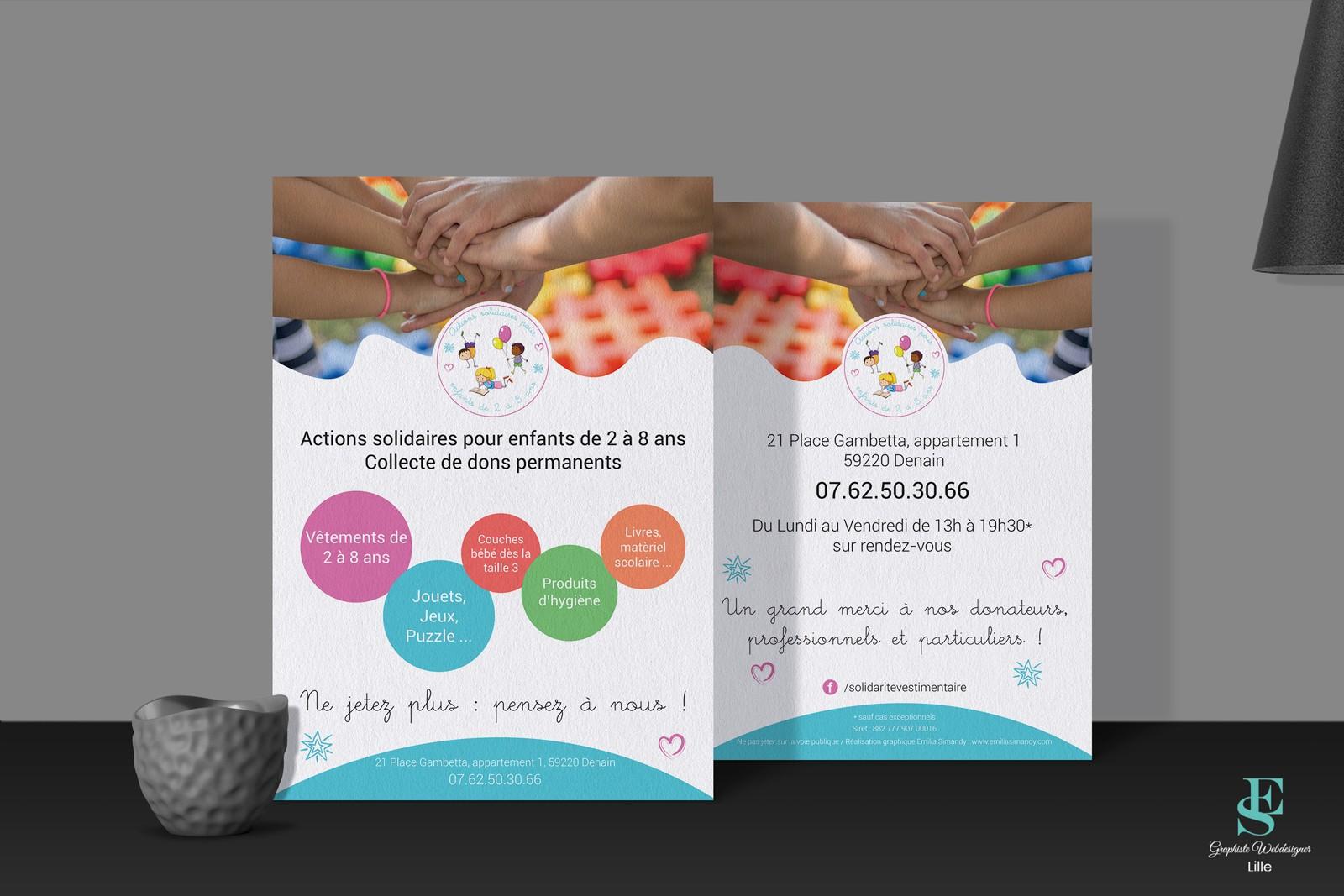 Flyer Association Actions solidaires pour enfants de 2 à 8 ans